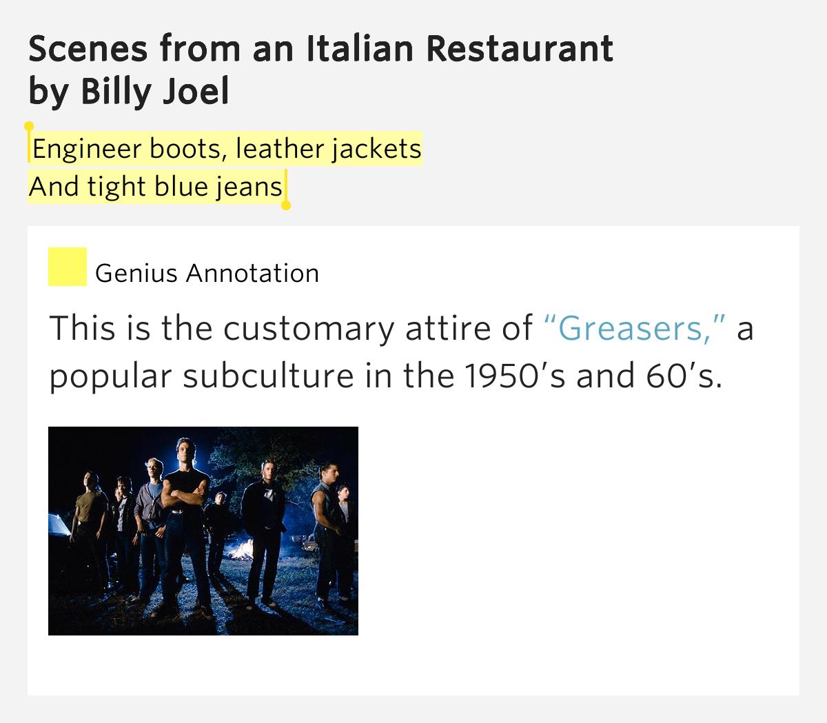 Billy Joel Scenes From An Italian Restaurant Meaning