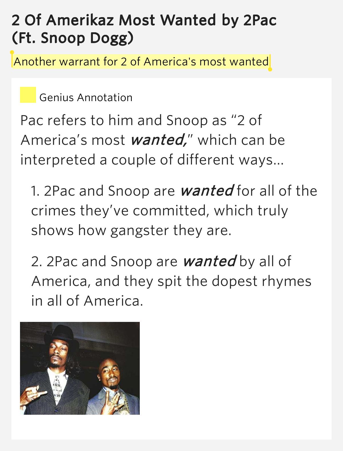 Tupac ft. Snoop Dogg - 2 Of Amerikaz Most Wanted (lyrics ...