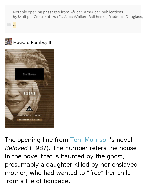 the enslaved mother in beloved a novel by toni morrison In toni morrison's beloved  he sets in motion the final recapitulation of a main theme of the novel, beloved's murder  morrison, toni beloved.