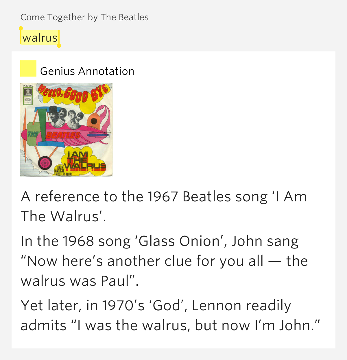 Walrus – Come Together by The BeatlesI'm The Walrus Lyrics