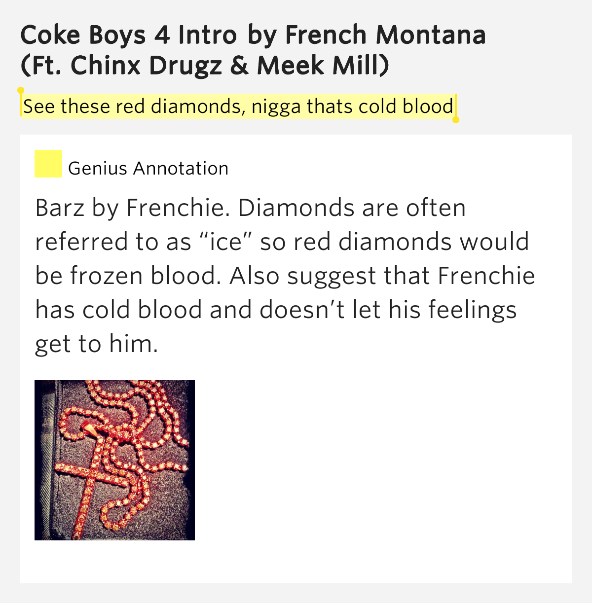 See These Red Diamonds, Nigga Thats Cold Blood