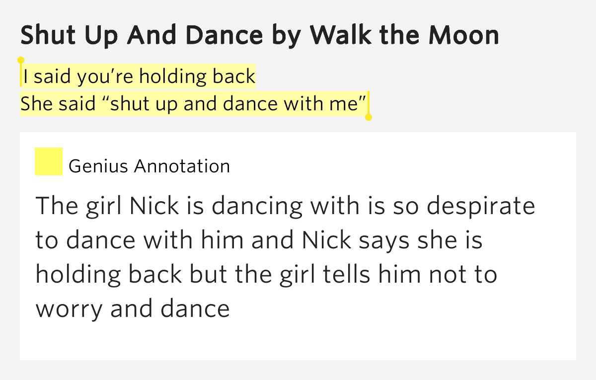 WALK THE MOON – Shut Up and Dance Lyrics | Genius Lyrics