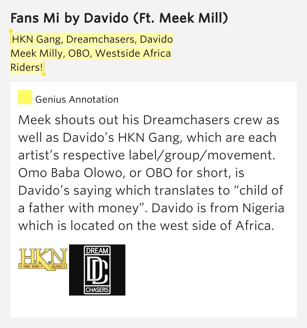 hkn gang dreamchasers davido meek milly obo � fans mi