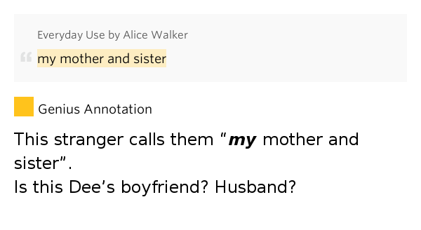 """mama in everyday use """"everyday use"""" by alice walker  in the winter i wear flannel  maggie and i  thought about this and maggie asked me, mama, when did dee ever have any."""
