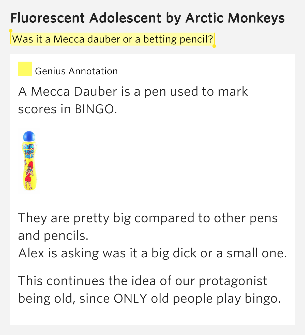 Was it a Mecca dauber or a betting pencil? - Fluorescent