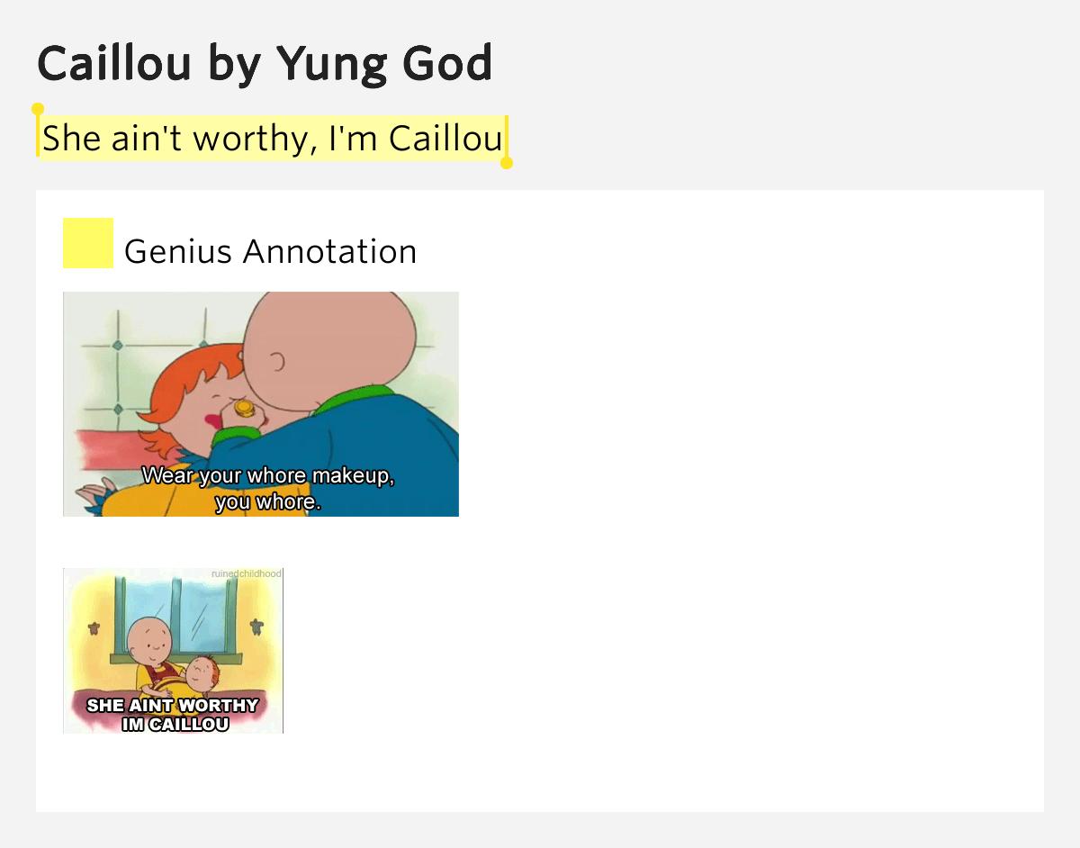 yung god caillou lyrics