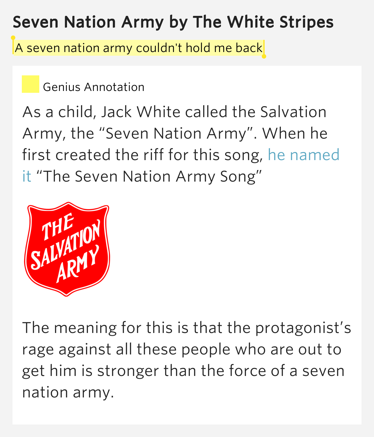Seven Nations Army Lyrics Meaning - ▷ ▷ PowerMall