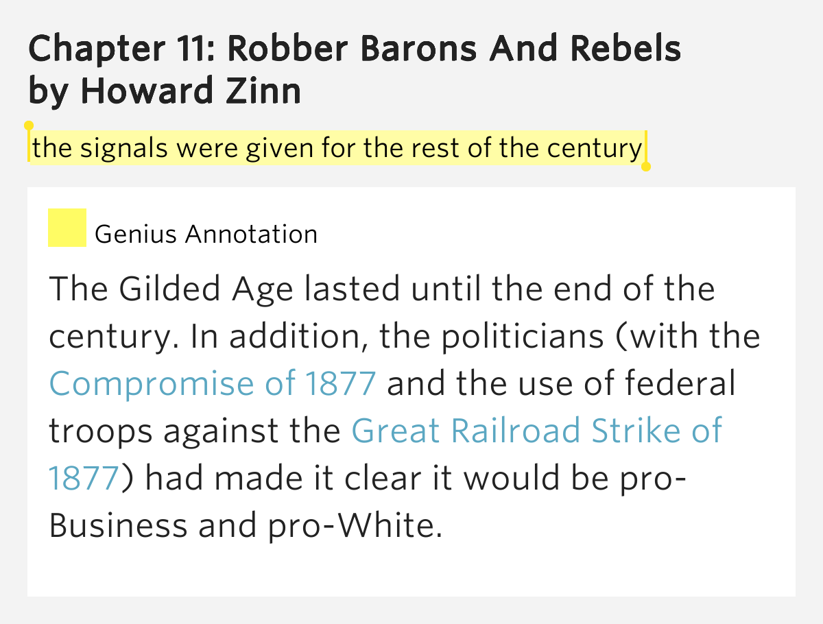 Howard zinn robber barons and rebels thesis
