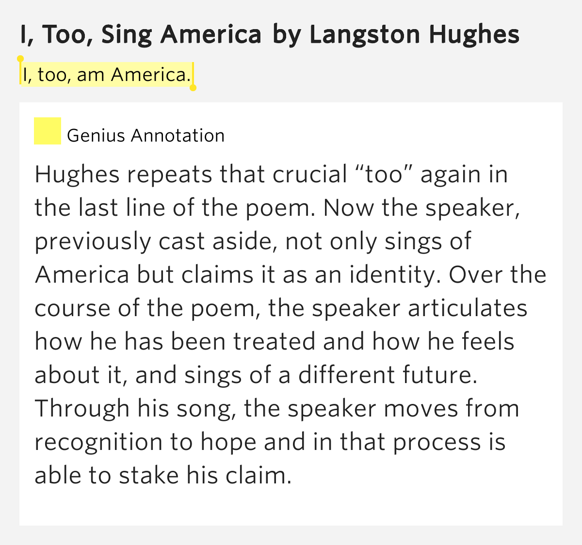 I Too Sing America Langston Hughes Essay  Ethos Pathos Essay I Too Sing America Langston Hughes Essay Ap Computer Science Online Help also Thesis Statement Narrative Essay  Essays Papers