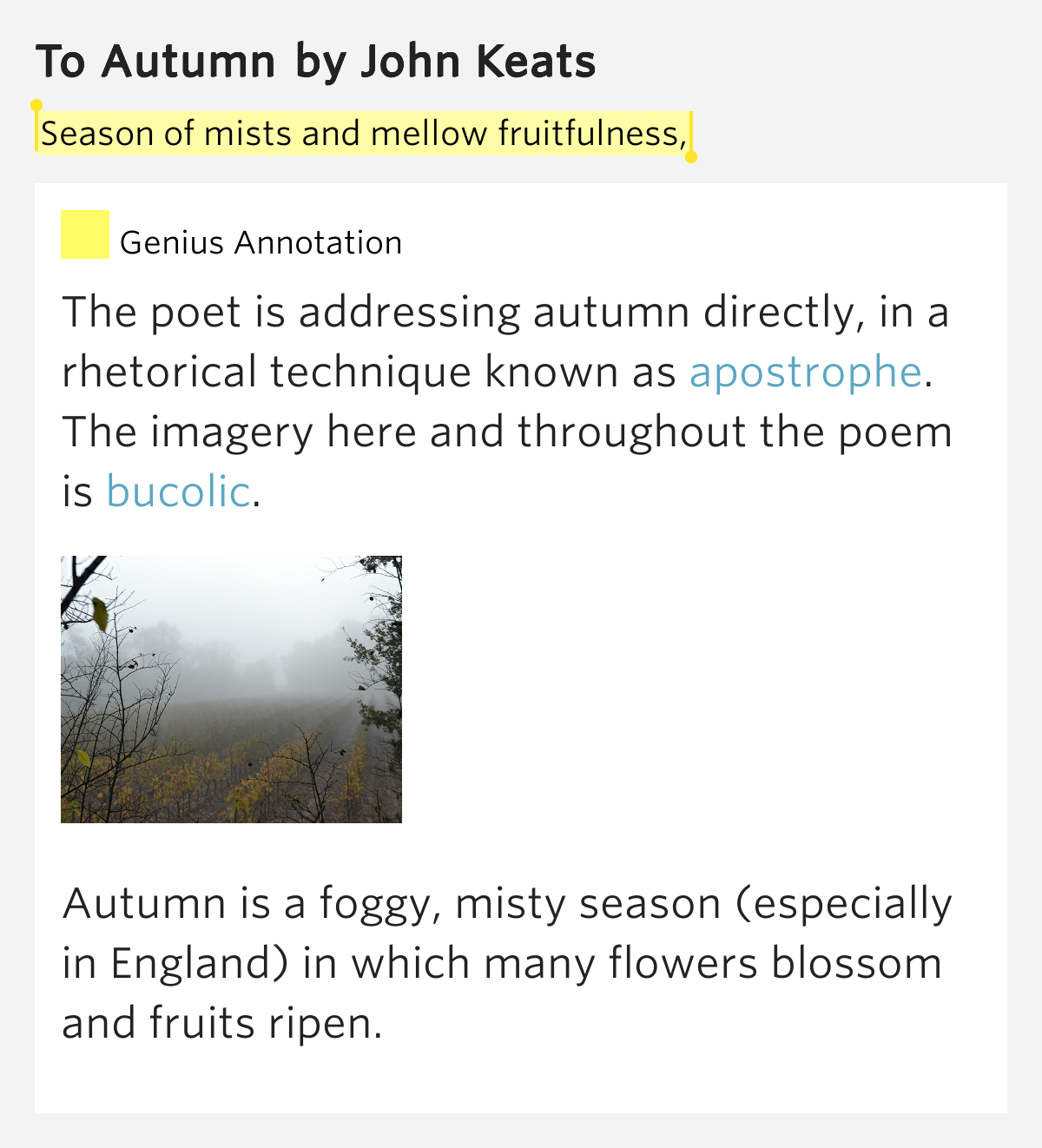 to autumn john keats To autumn by john keats season of mists and mellow fruitfulness, close bosom -friend of the maturing sun conspiring with him how to load and bless with fruit.