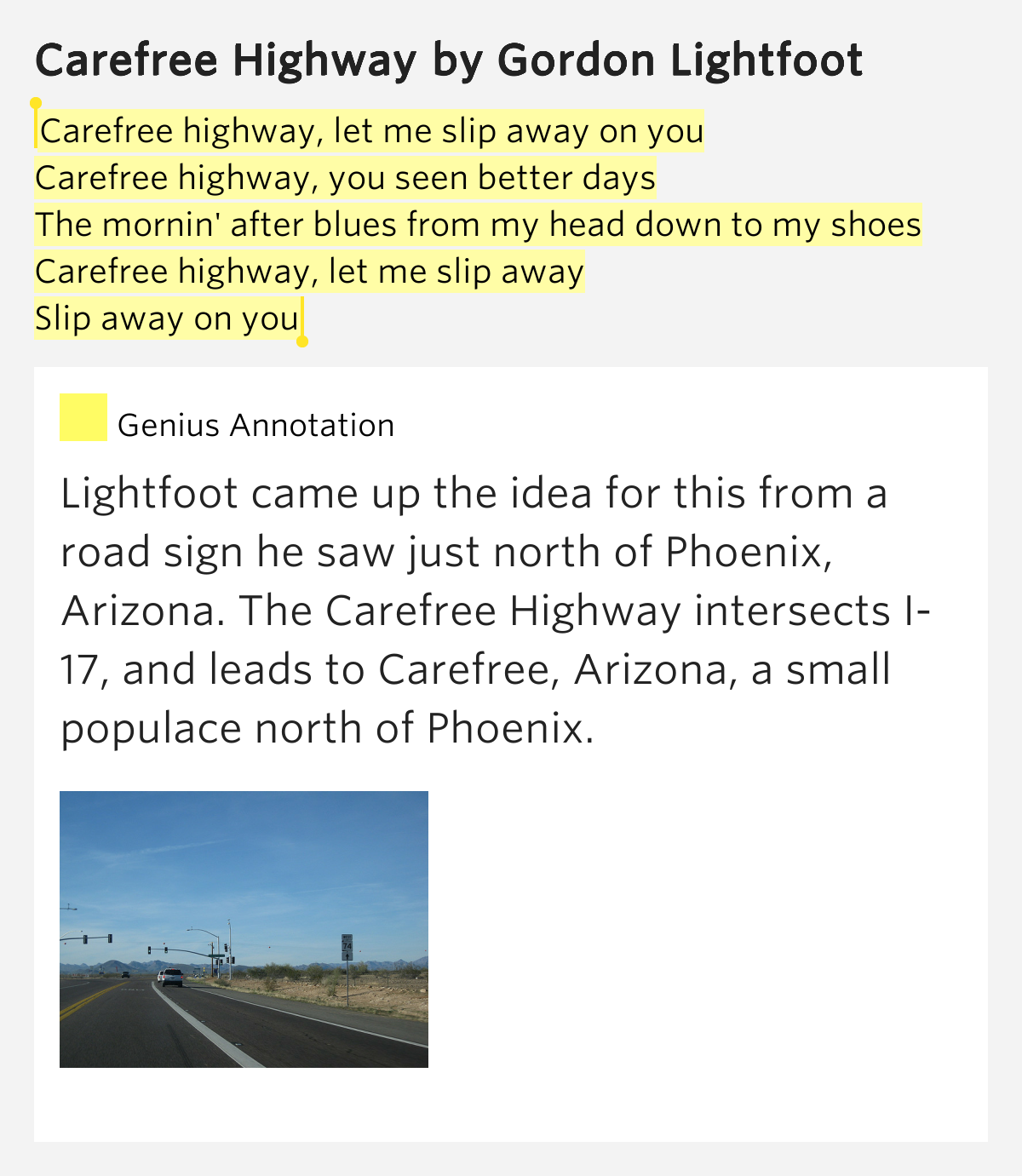 Lyrics to carefree highway