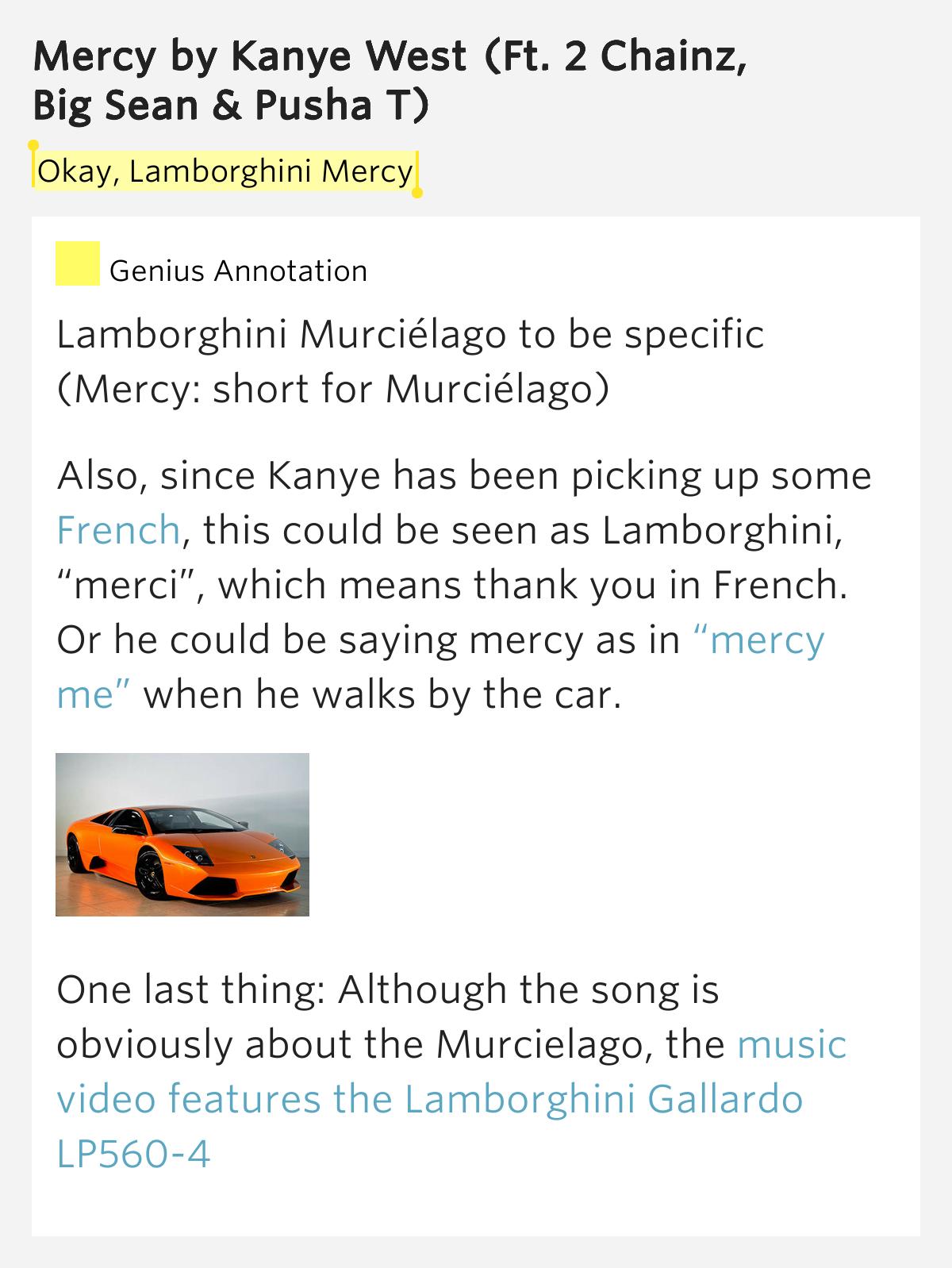 Okay Lamborghini Mercy Mercy Lyrics Meaning