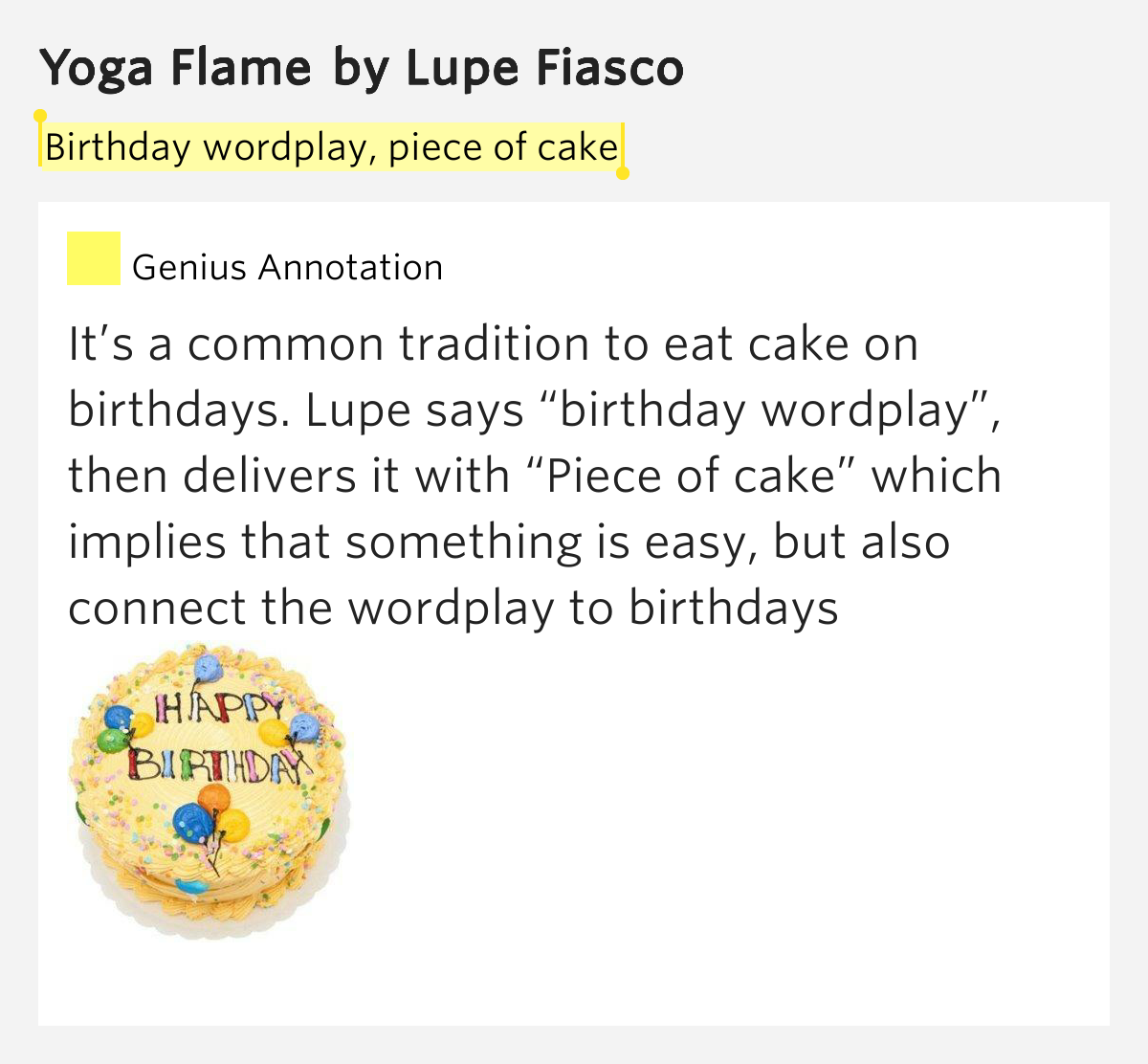 Birthday Wordplay, Piece Of Cake