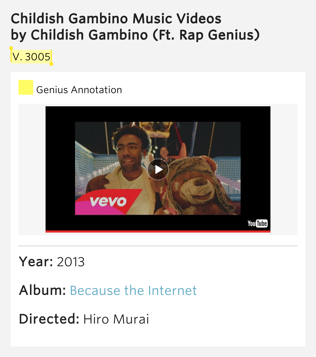 V. 3005 – Childish Gambino Music Videos Meaning