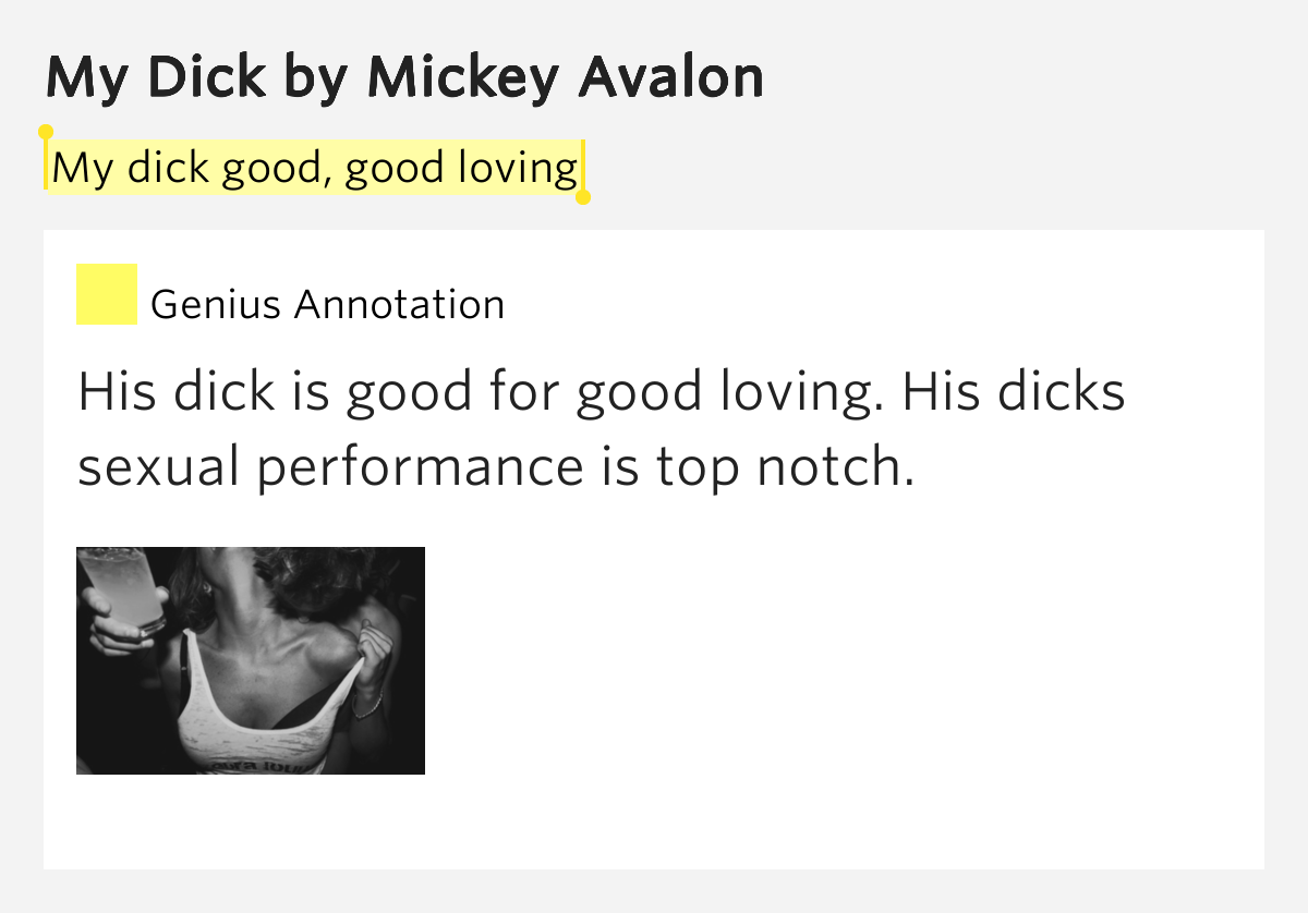 My dick mickey avalon lyrics