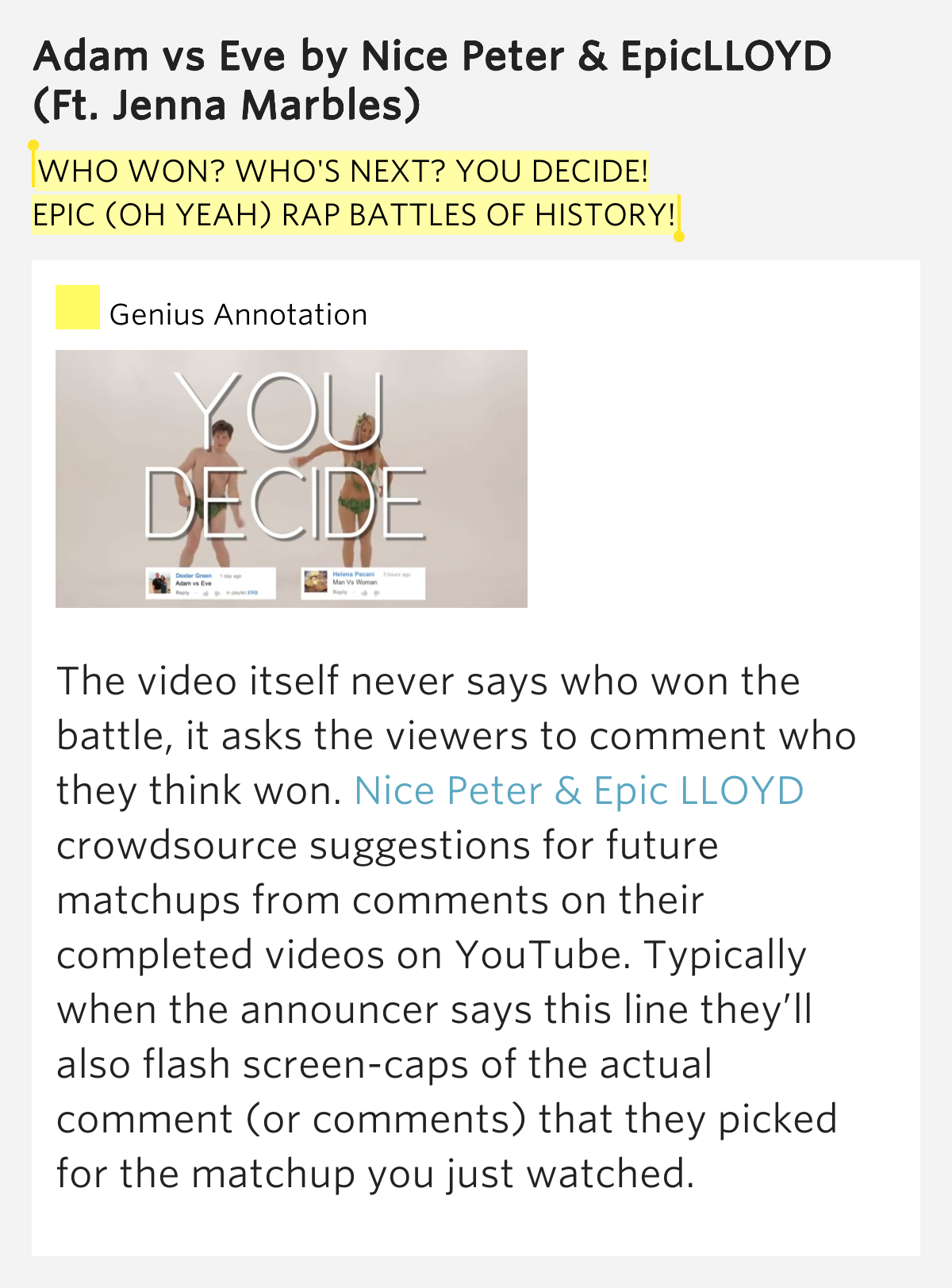 Epic rap battles of history Adam vs Eve lyrics - YouTube
