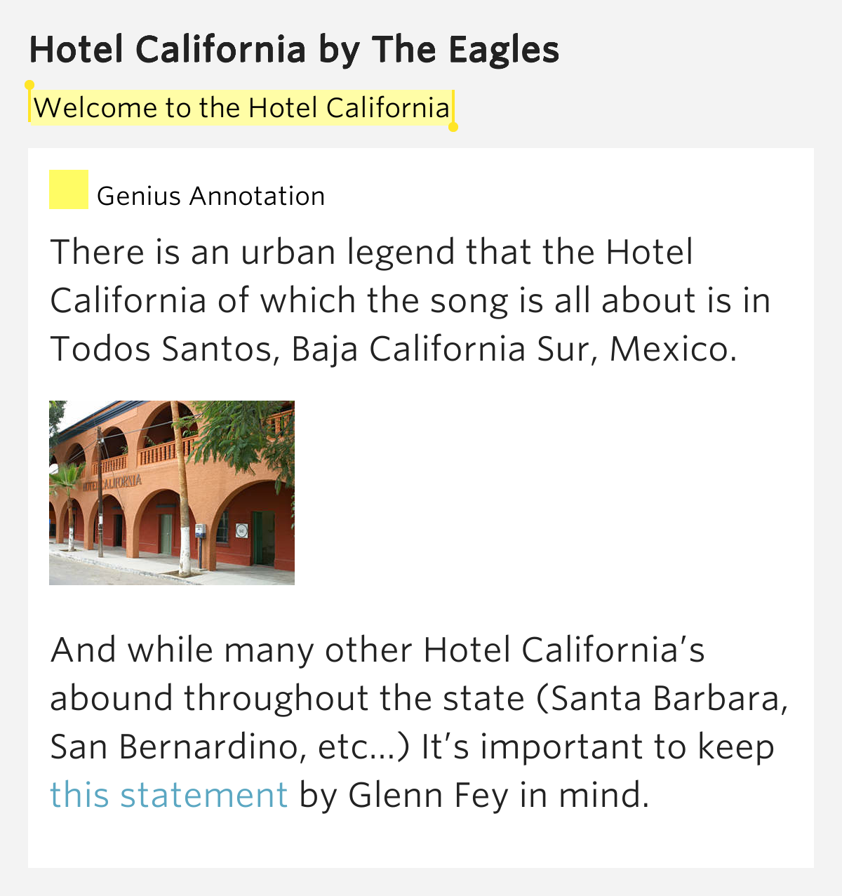 meaning of hotel california song