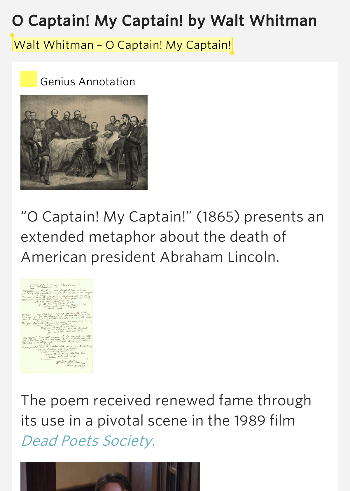 an analysis of the poem o captain my captain by walt whitman