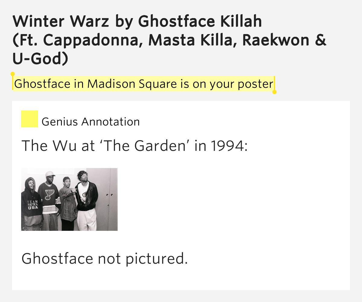 Ghostface In Madison Square Is On Your Poster Winter Warz