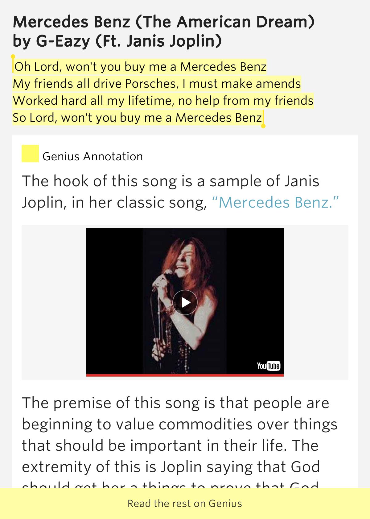 for Mercedes benz song lyrics