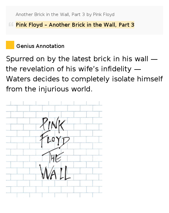 Another Brick In The Wall lyrics by Pink Floyd, 10 ...