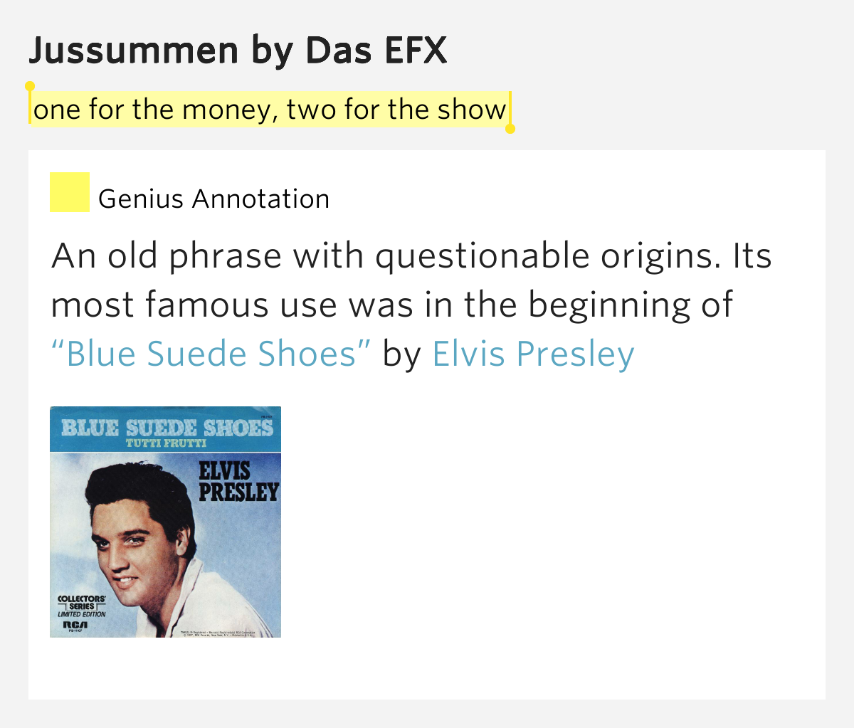 One for the money two for the show jussummen lyrics meaning - One for the money two for the show ...