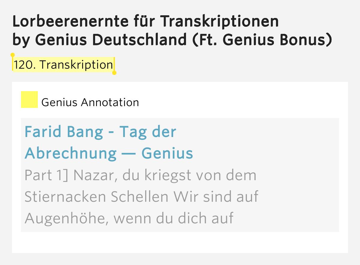 Farid Bang Tag Der Abrechnung : 120 transkription lorbeerenernte f r transkriptionen ~ Themetempest.com Abrechnung