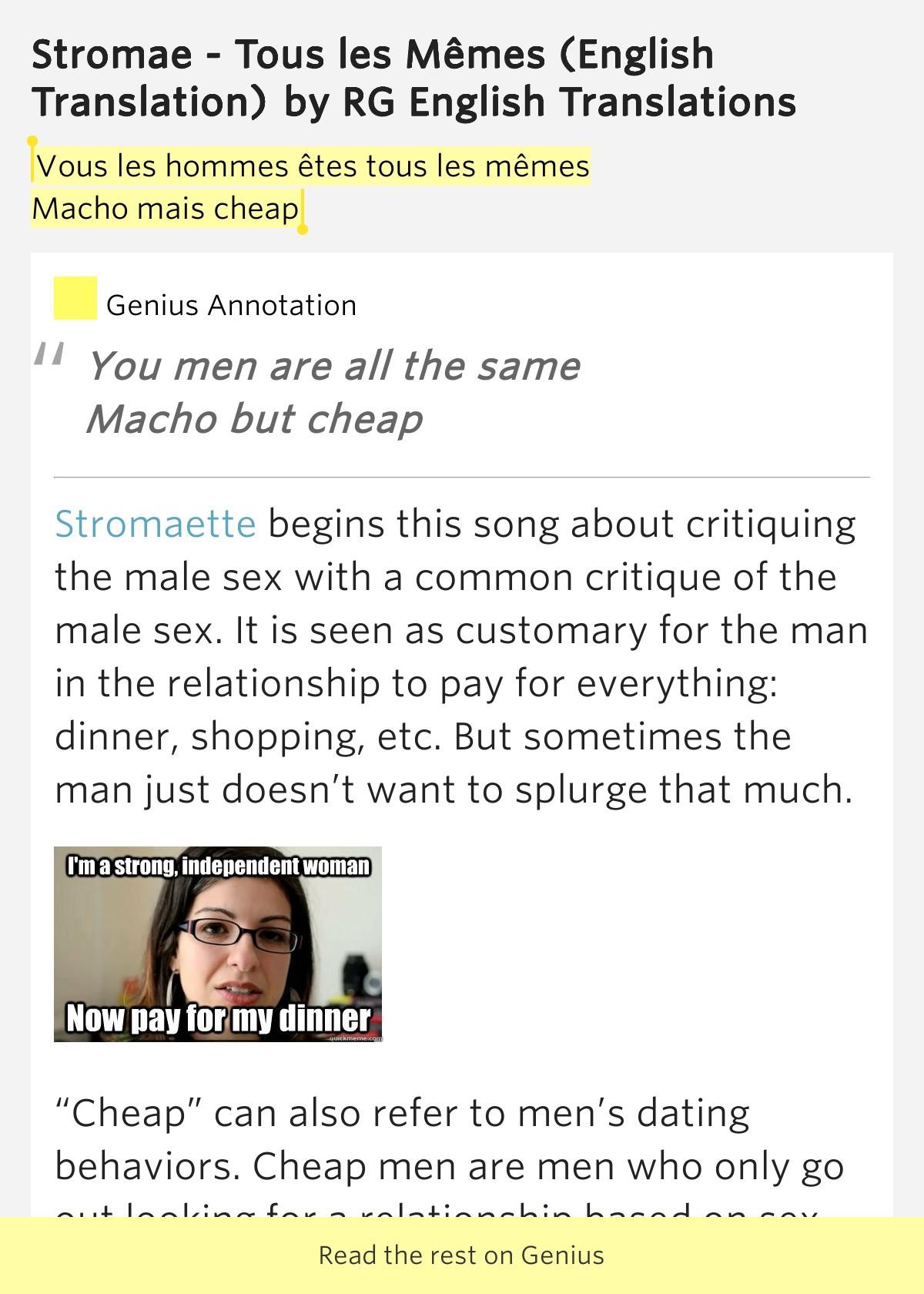 Vous les hommes êtes tous les mêmes /.. - RG English ...