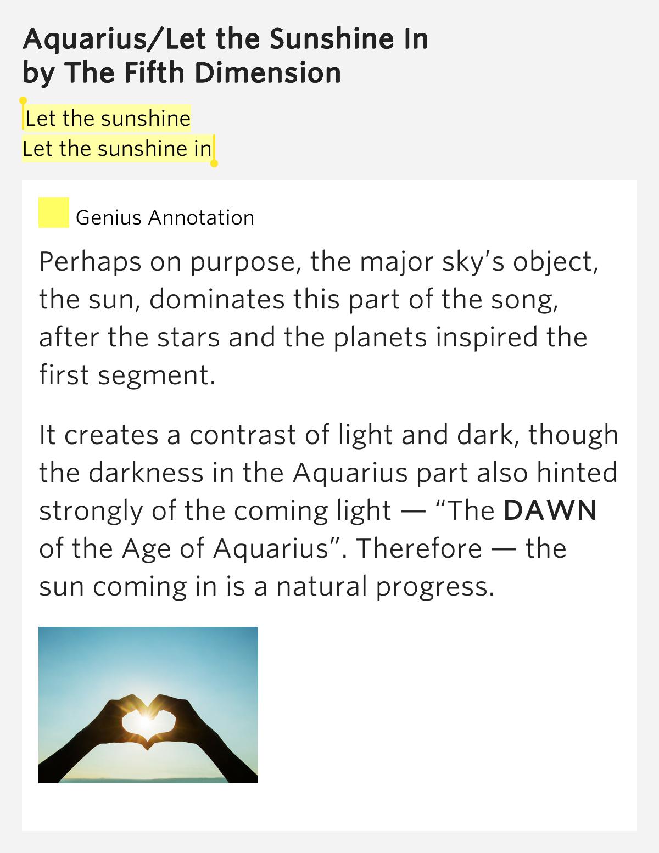 The 5th Dimension - Aquarius/let The Sunshine In Lyrics ...