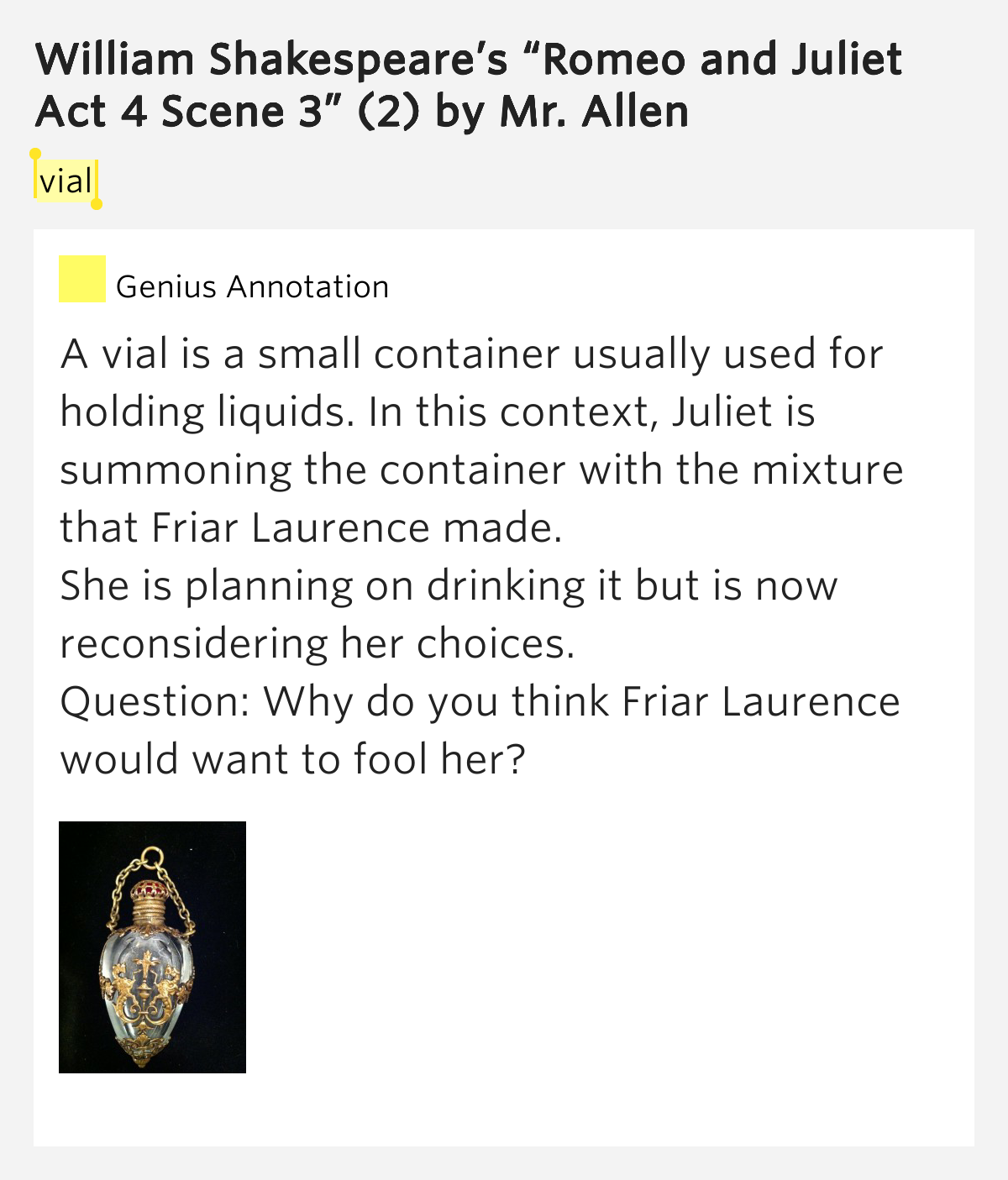 antithesis in romeo and juliet act 4 scene 3 Get an answer for 'in act iv scene iii of romeo and juliet, where is an oxymoron  used ' and find homework help for other romeo and juliet questions at.