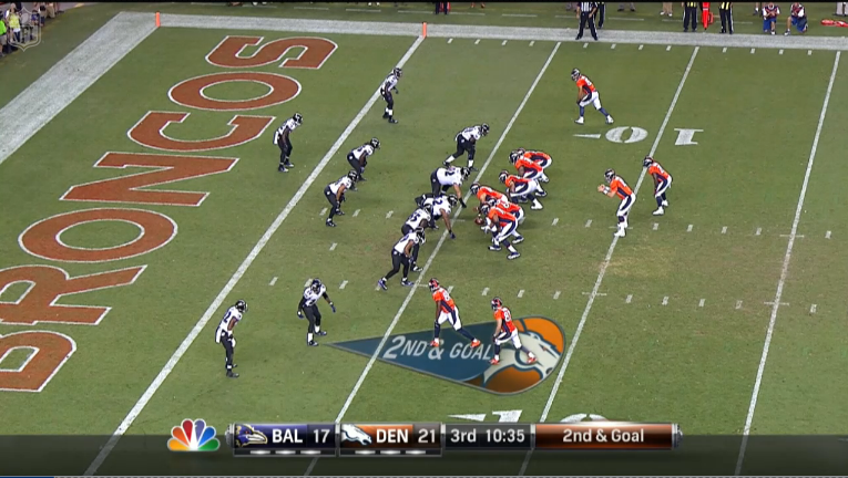23. Similar down and distance to last time. Playaction for Manning ...