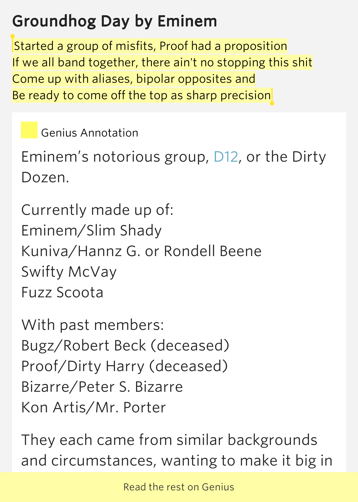 Eminem Song - Groundhog Day Lyrics - Lyrics n Video
