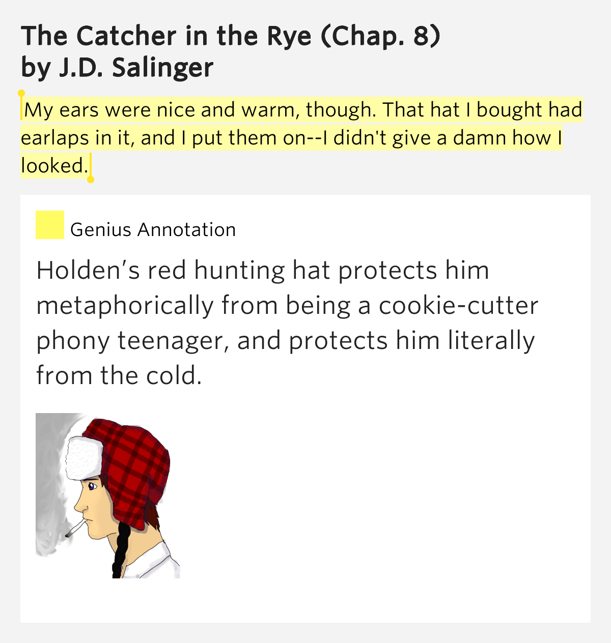 red hunting hat essay example The catcher in the rye by j d holden's red hunting hat holden claims he doesn't know much about egyptians in the failing essay he writes for mr.