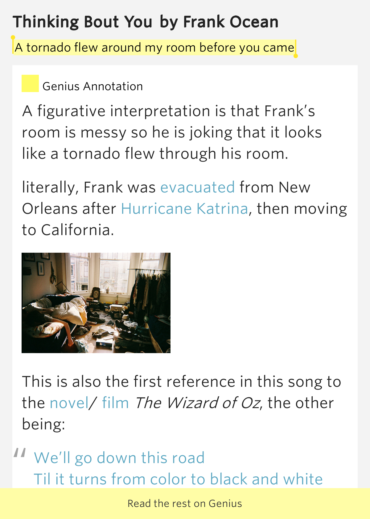 Frank Ocean - Thinking About You Lyrics | MetroLyrics