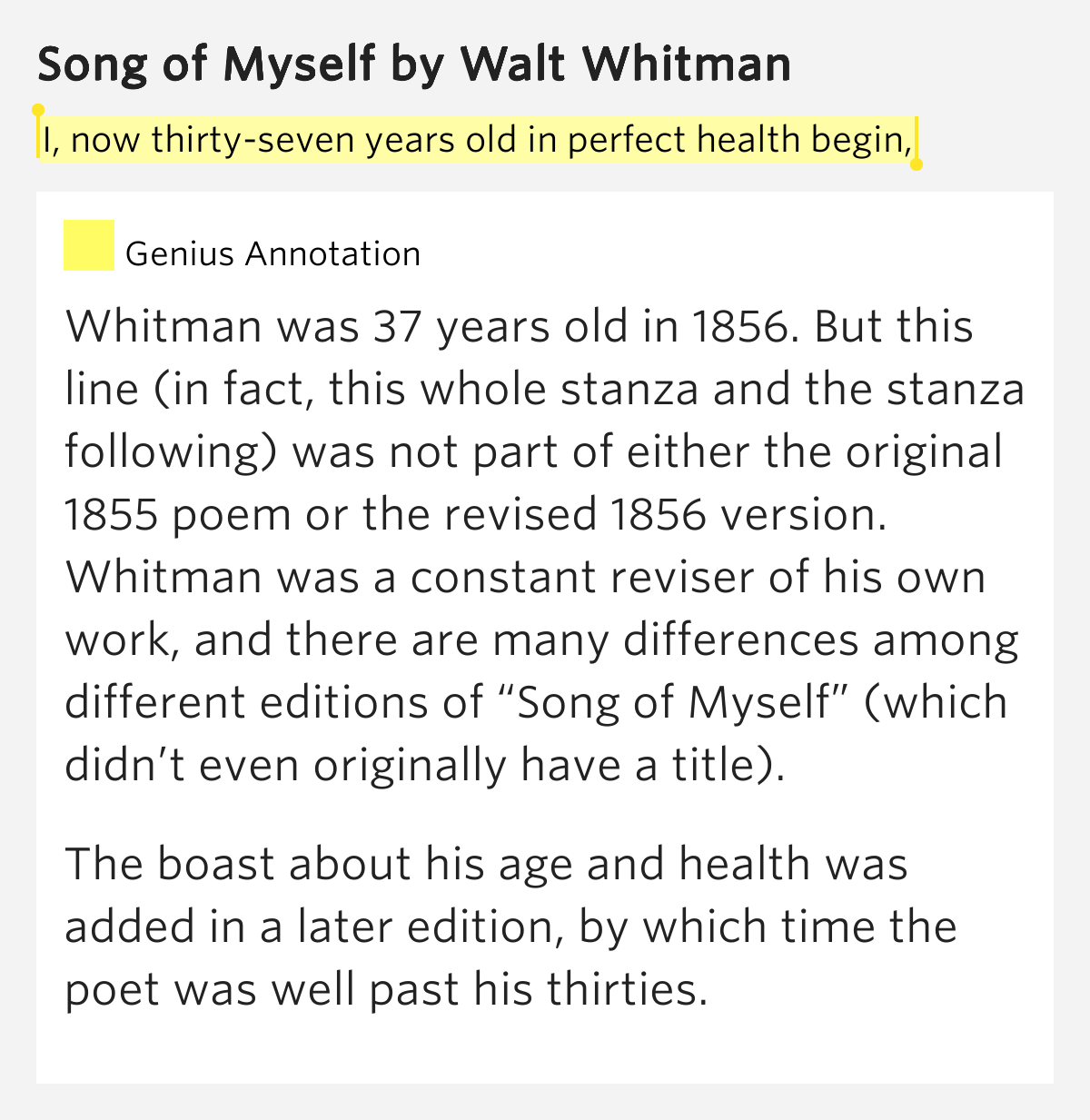 essay on songs of myself Complete summary of walt whitman's song of myself enotes plot summaries cover all the significant action of song of myself a celebration of the human self and all that it can see, hear, touch, taste, smell, intuit, and contemplate in the human and natural world.