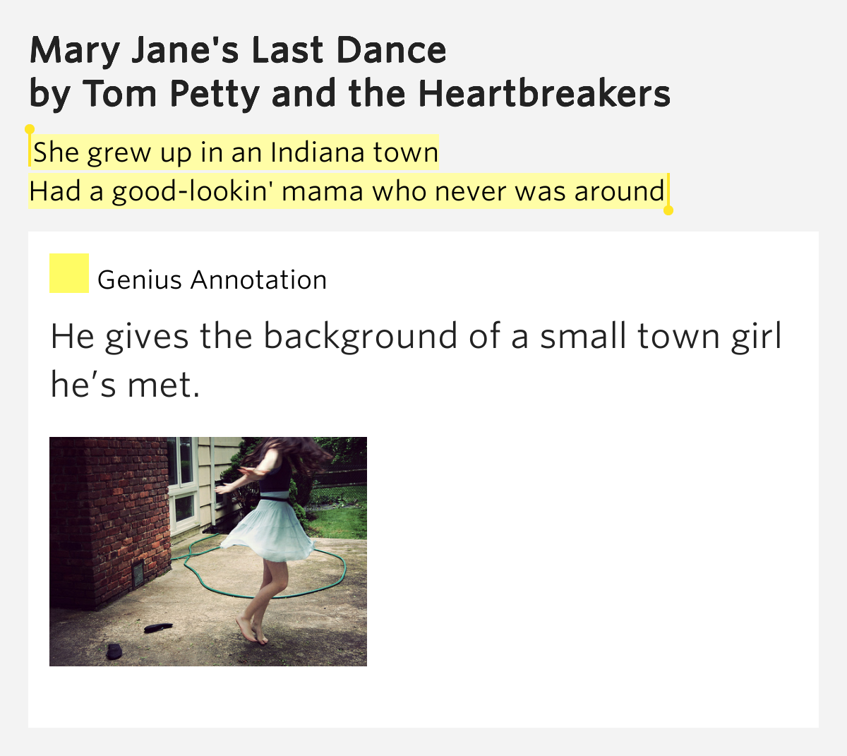 last dance with mary jane lyrics meaning