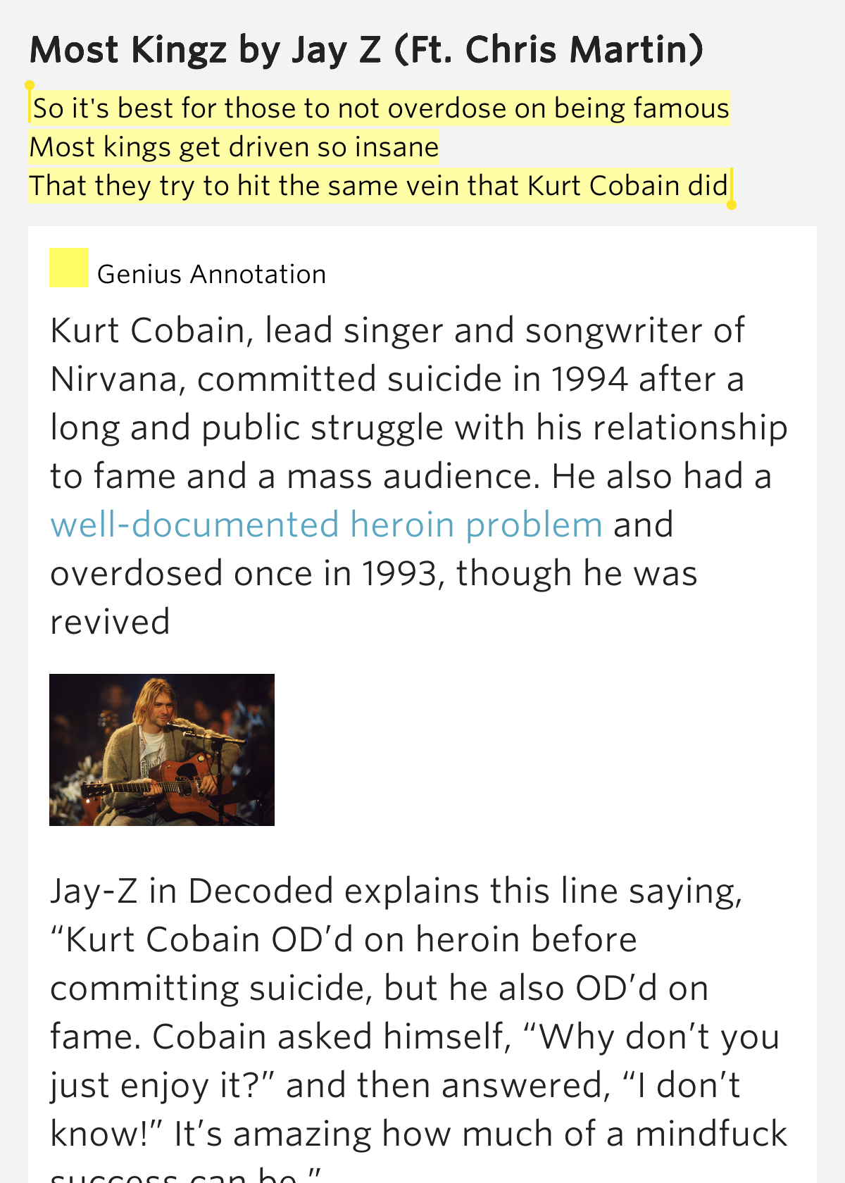 the reasons why popular lead singer and songwriter kurt cobain committed suicide Lead singer of nirvana, committed suicide 20 years ago kurt cobain, lead singer of the late musician's lasting influence on popular.