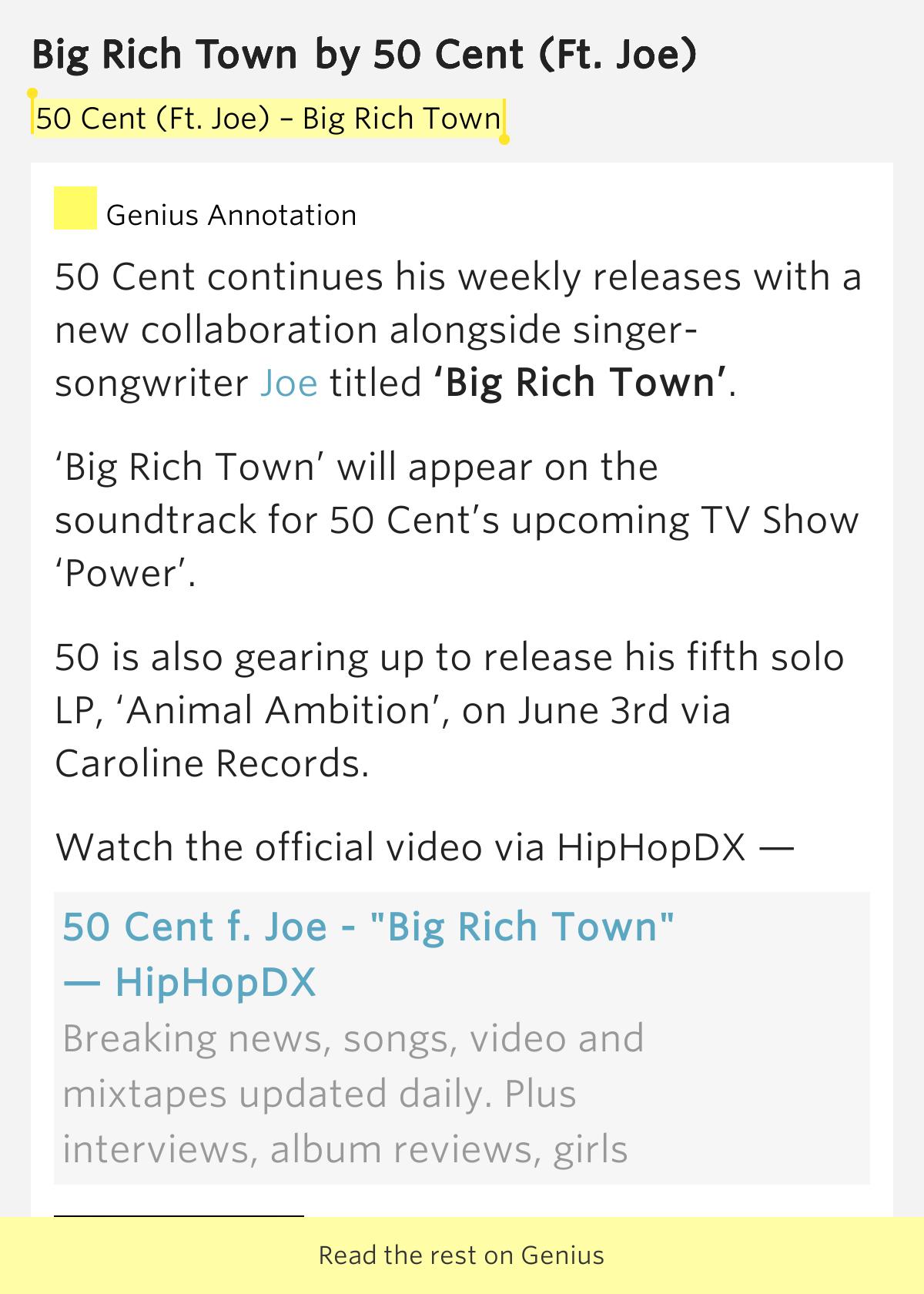 50 Cent - BIG RICH TOWN - Lyrics - YouTube