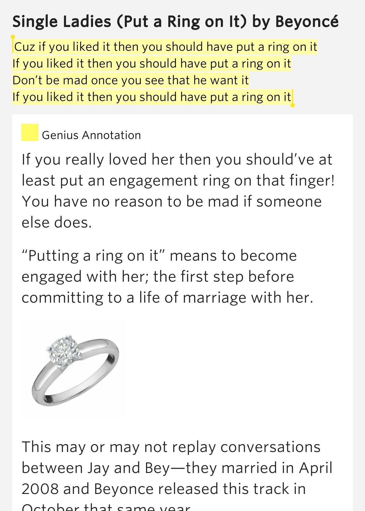 single ladies put a ring on it put traduction