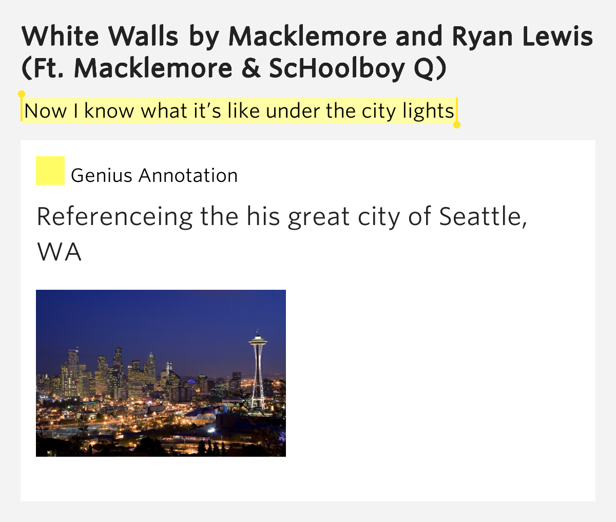 Now I know what it s like under the city lights White Walls