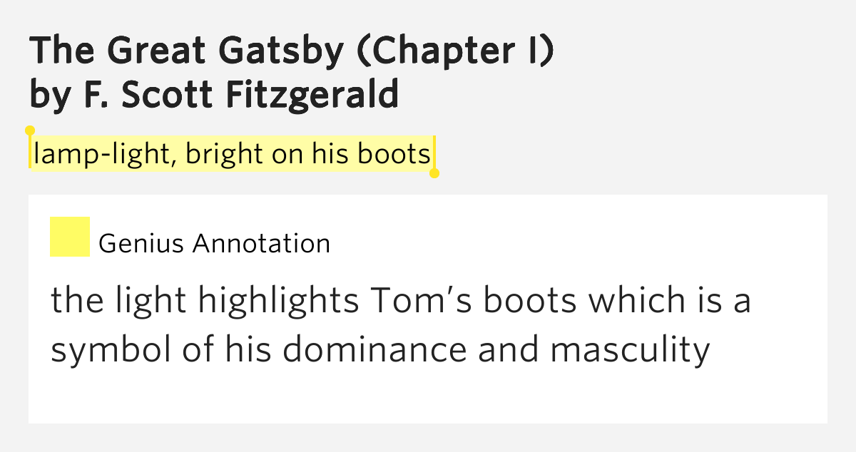 l light bright on his boots the great gatsby chapter i