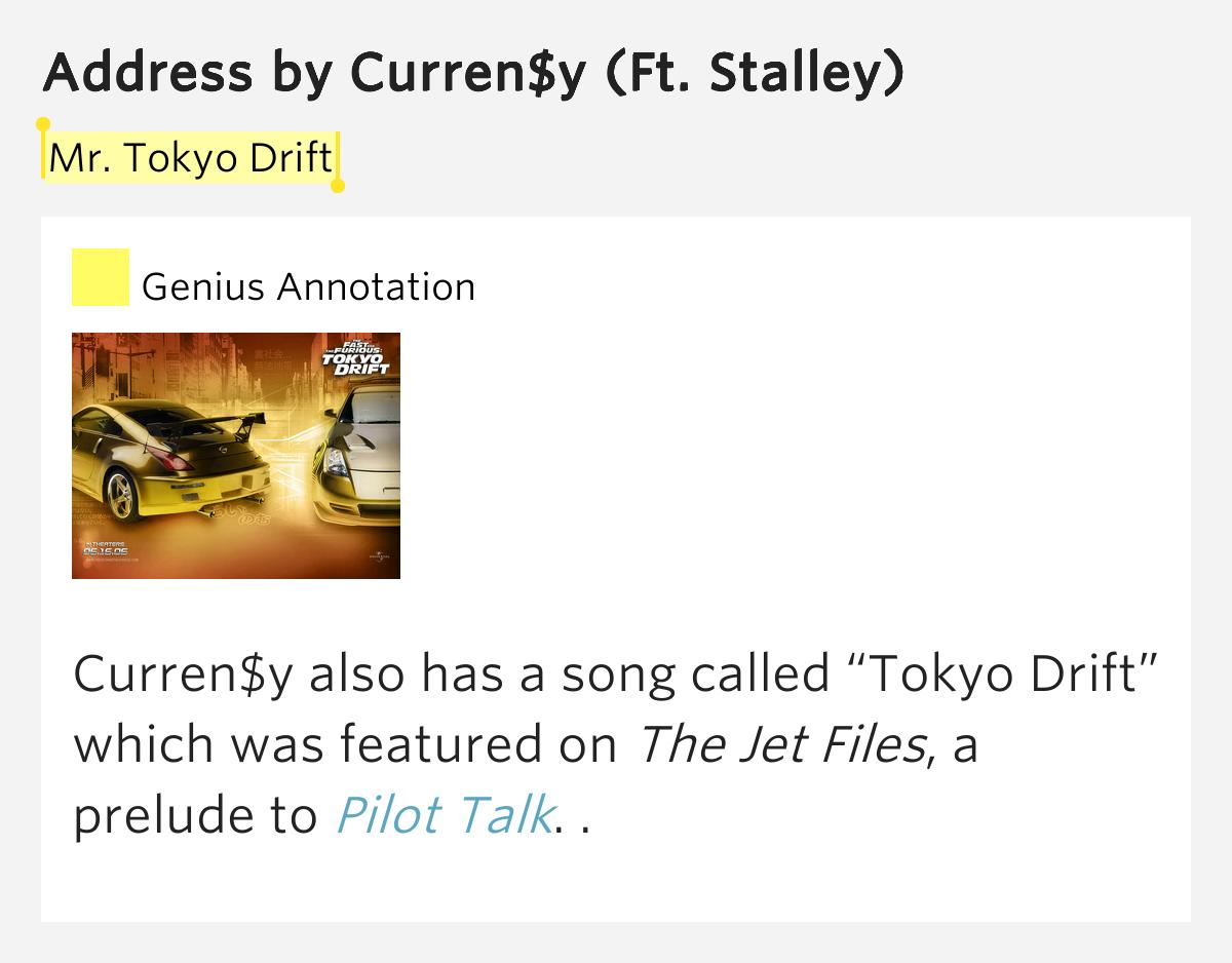 Mr Tokyo Drift Address By Curren Y