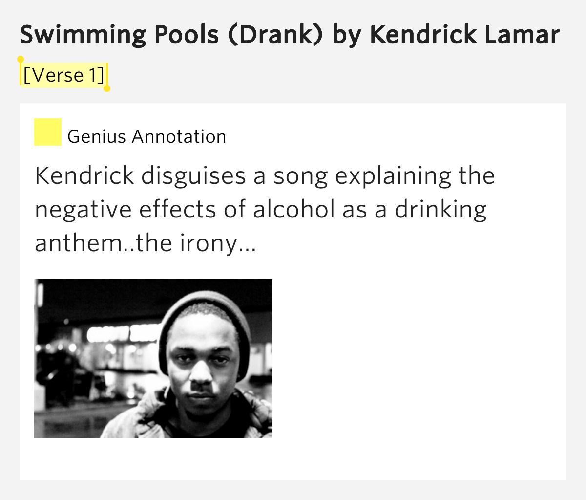 Verse 1 Swimming Pools Drank By Kendrick Lamar