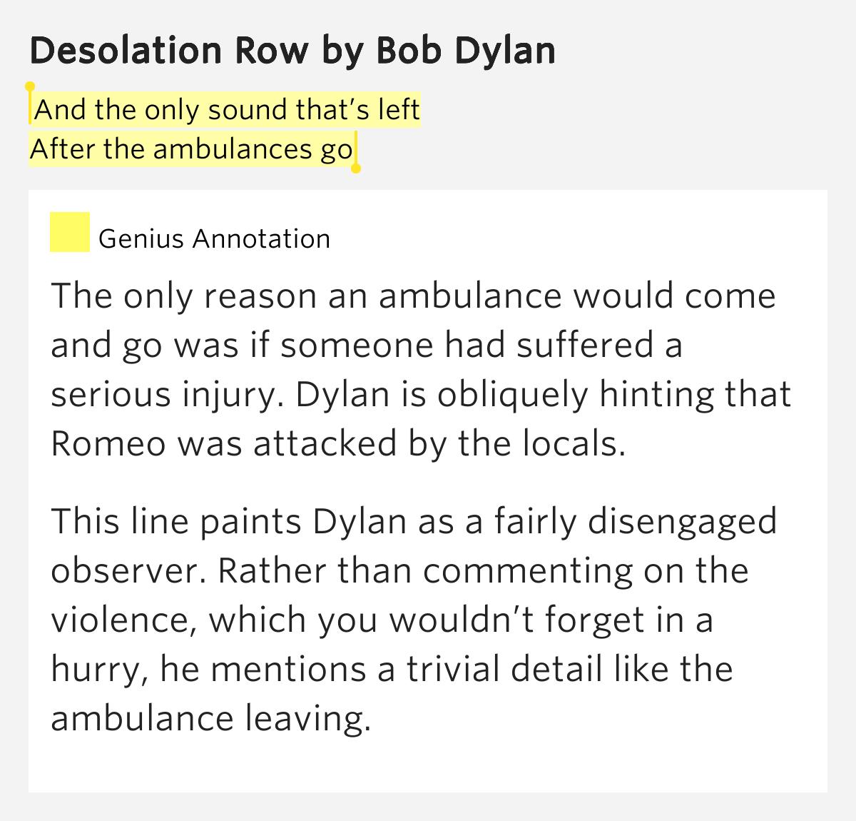 Lyrics containing the term: ambulances