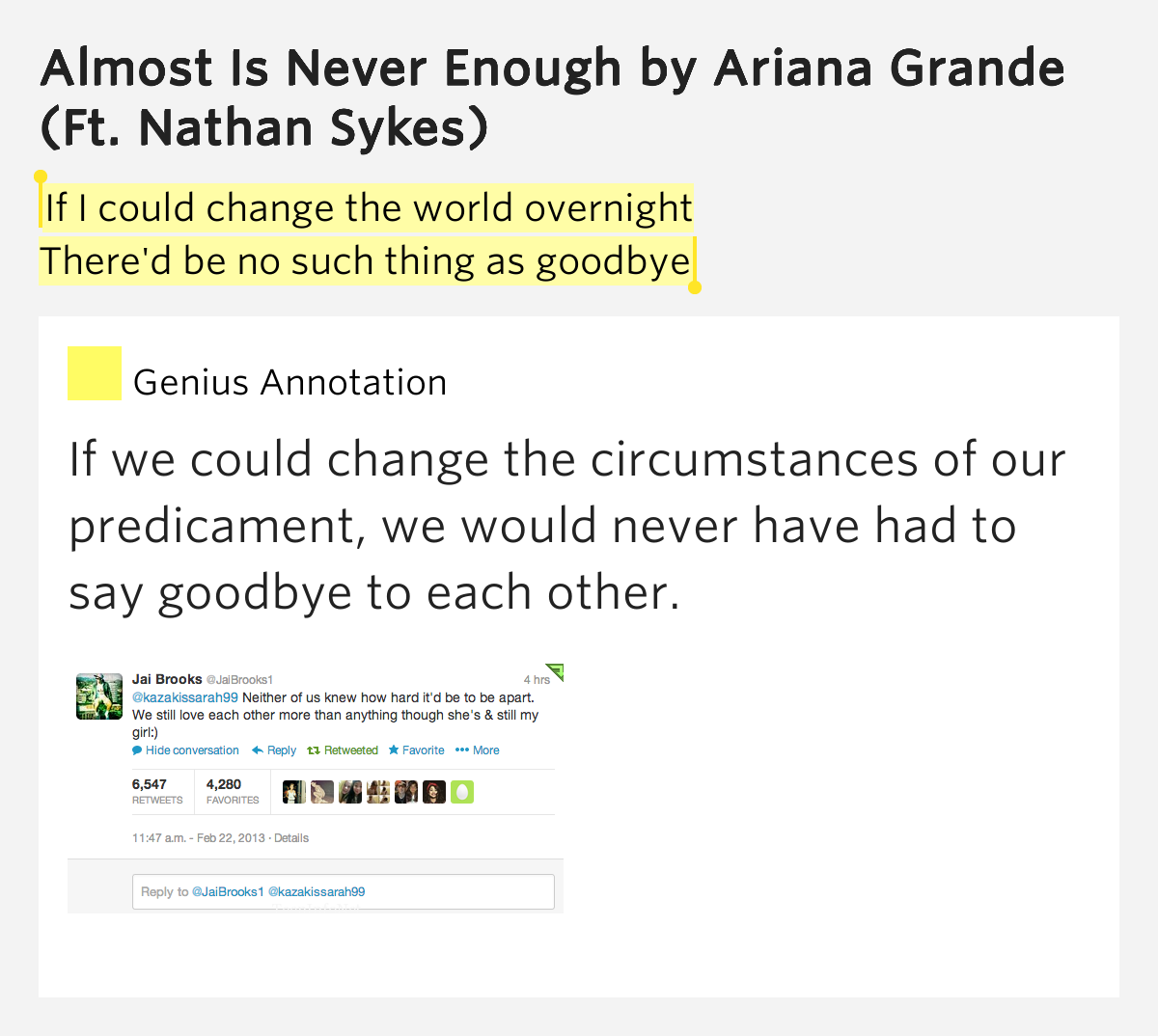 Ariana Grande - Almost Is Never Enough Lyrics Meaning