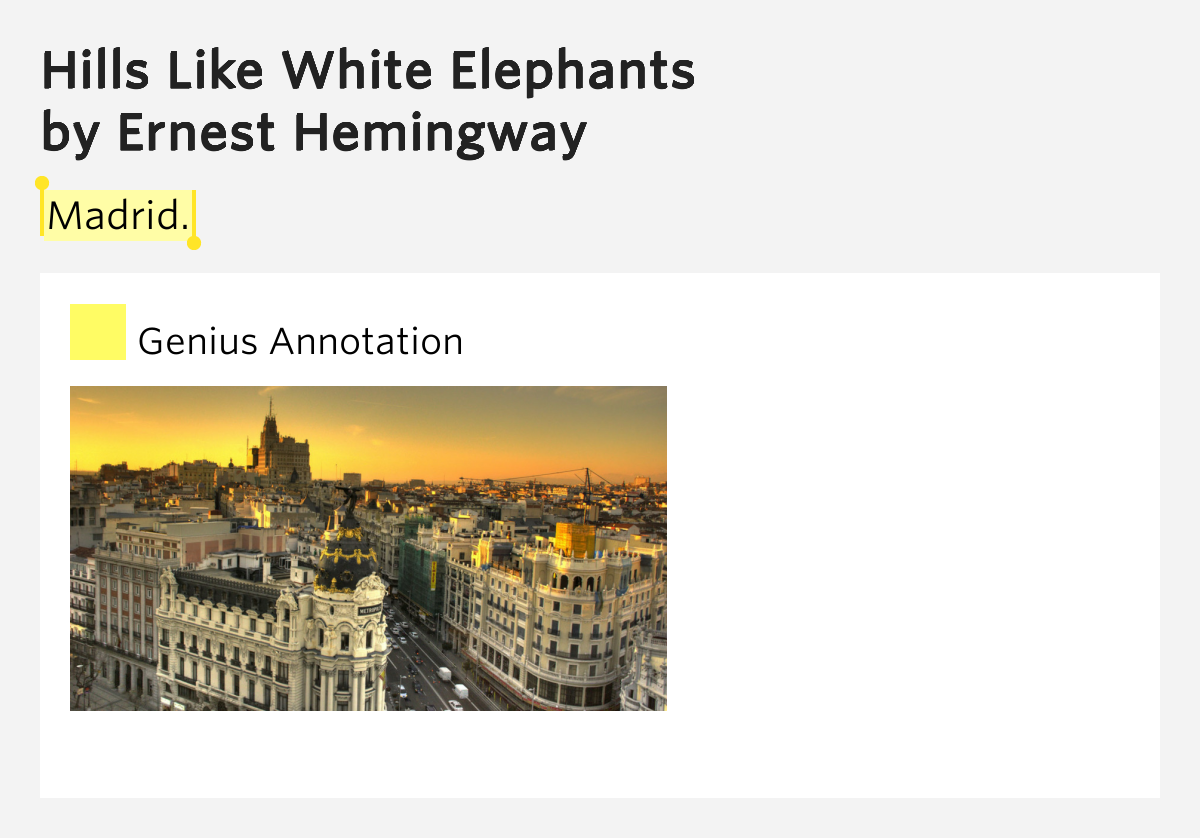 """hills like white elephants"" Learn the important quotes in hills like white elephants and the chapters they're  from, including why they're important and what they mean in the context of the."