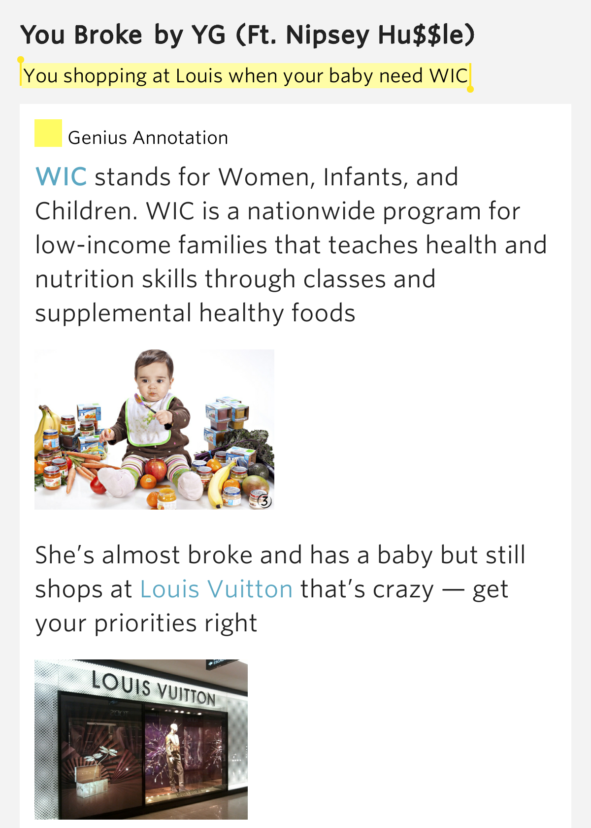 You shopping at Louis when your baby need WIC – You Broke ...