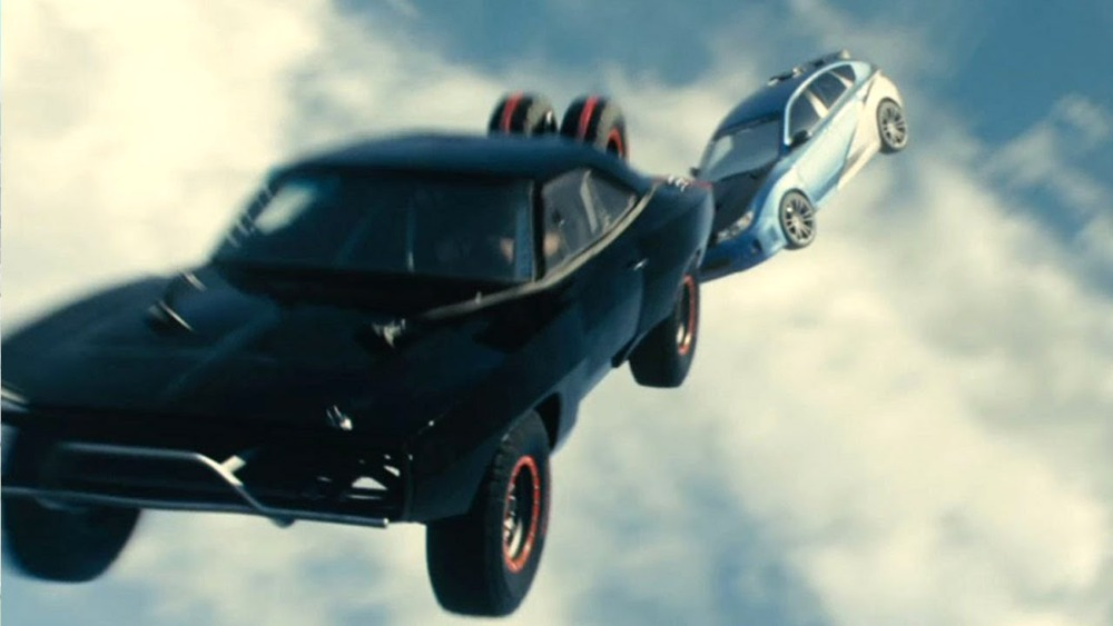 Furious 7 when the main characters parachute out of a plane in their