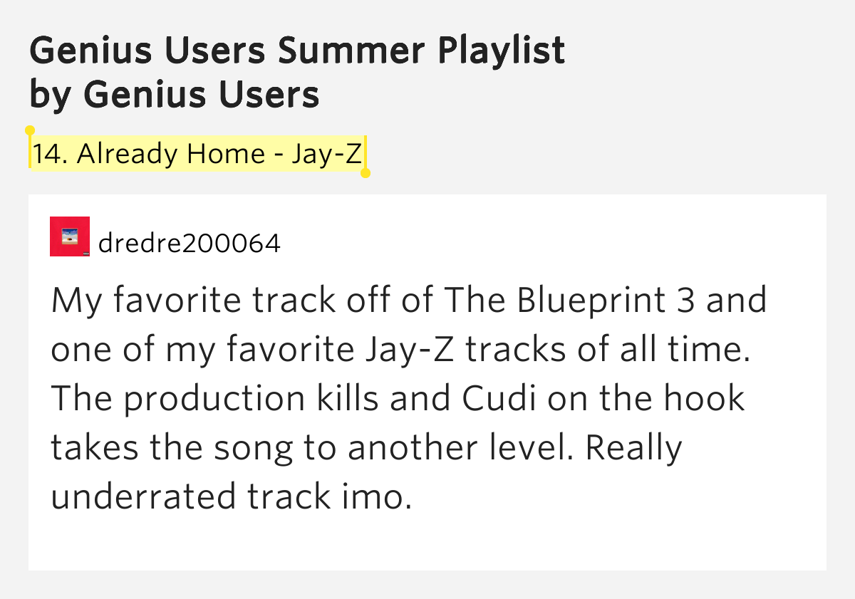 14 already home jay z genius users summer playlist application 14 already home jay z genius users summer playlist malvernweather Image collections