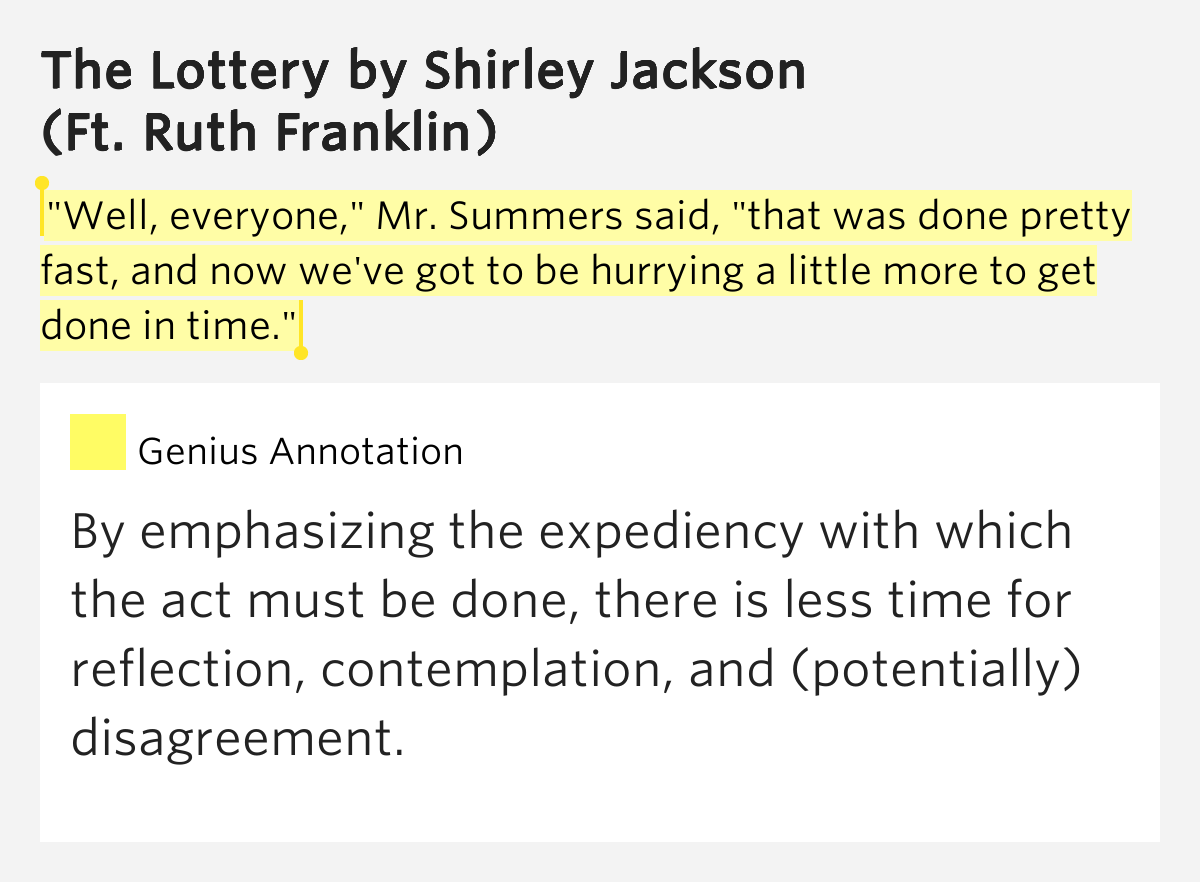 anaylsis of jacksons the lottery essay The lottery essay examples critical analysis: the lottery, by shirley jackson shirley jackson's short story, the lottery is based on the principal theme that the will of the people overcomes individual power.